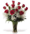 12 Premium Long Stem Roses Vased with Baby Breath