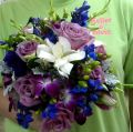 Blues, purples with Gardenias