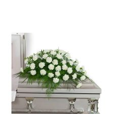 Peaceful in White Casket Spray