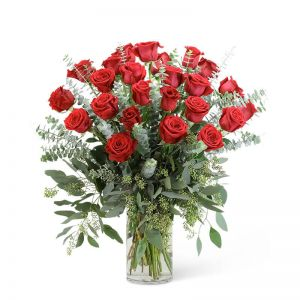Red Roses with Eucalyptus Foliage (24)