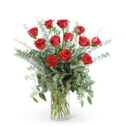 Red Roses with Eucalyptus Foliage (12)
